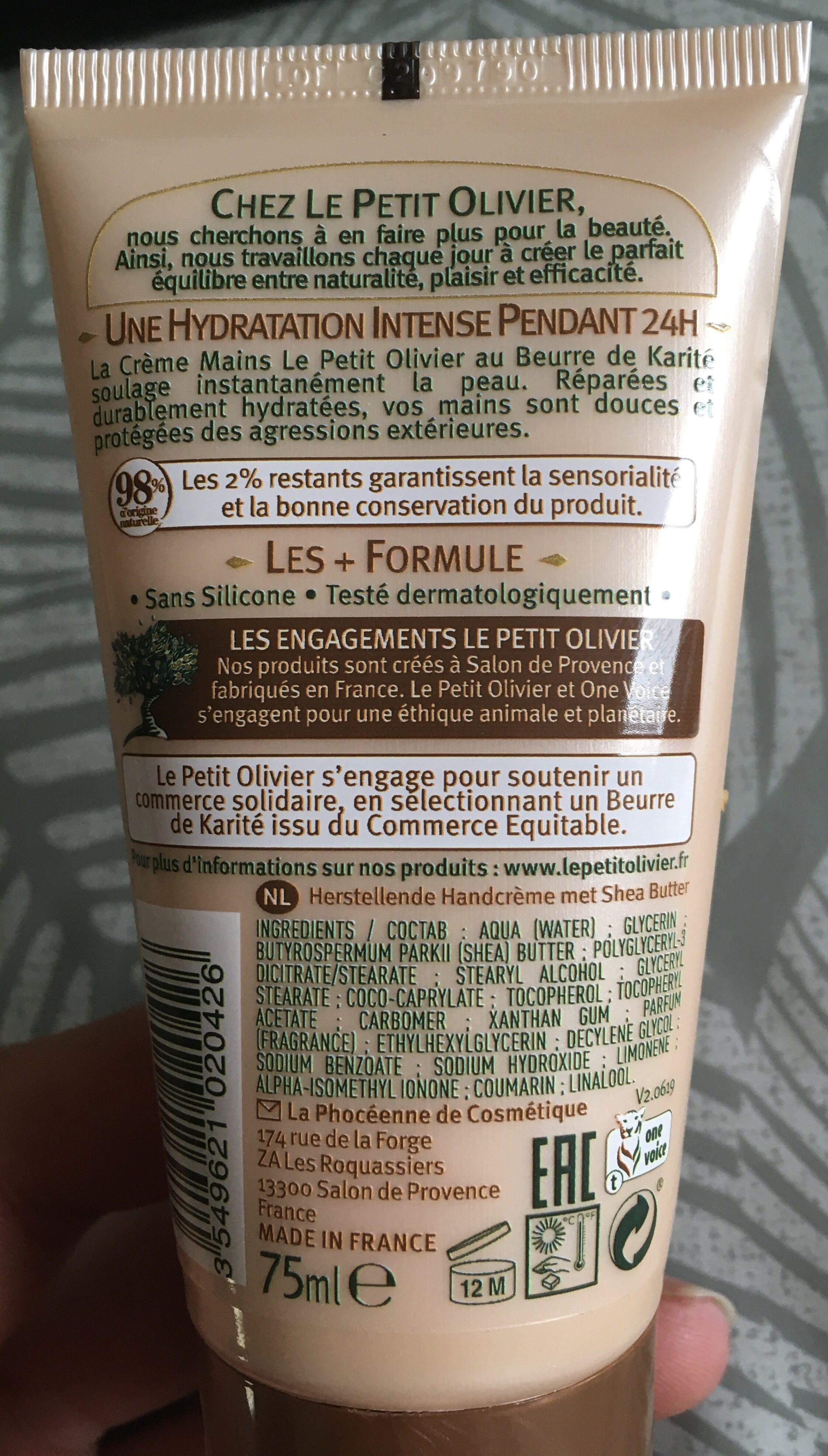 Crème mains réparatrice beurre de karité - Ingredients - fr