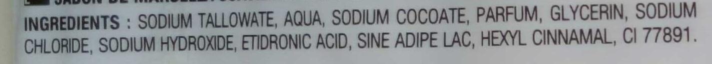 Savon de Marseille , lait et parfum raisin - Ingrédients