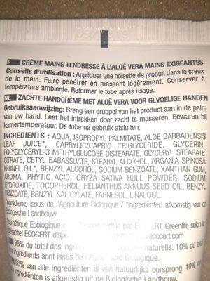 Crème mains tendresse à l'aloé vera - Ingrédients