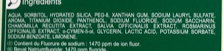 Dentifrice Herbal - Ingredients