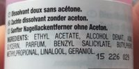 Dissolvant doux - Ingredients - fr