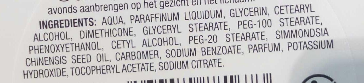 Crème Visage et corps - Ingredients - fr