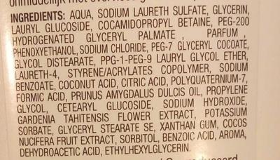 Crème de douche Lait de coco hydratante - Ingrédients