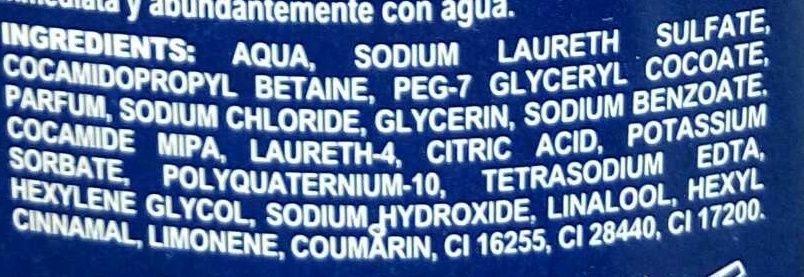 Explosion Gel 3 en 1 - Ingredients
