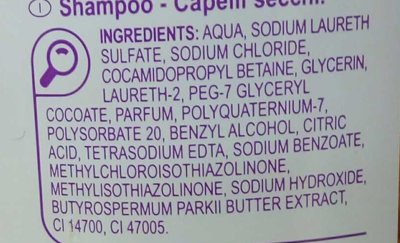Shampooing Cheveux secs - Ingredients