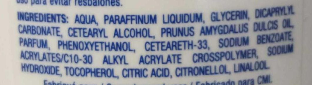 Laits corps sous la douche hydratant - Ingredients - fr