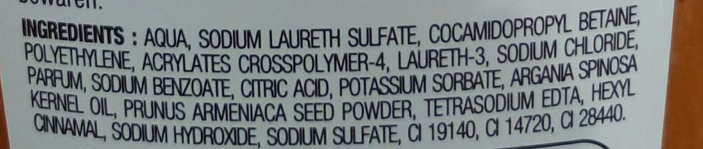 Gel douche exfoliant à l'huile d'argan - Ingrédients