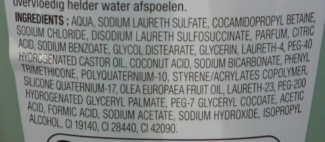 Shampooing ultra nourrissant à l'huile d'olive - Ingrédients