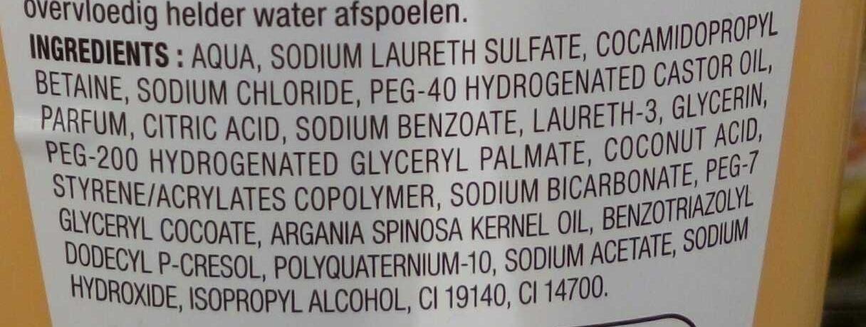 Shampooing onctueux à l'huile d'argan - Ingredients - en
