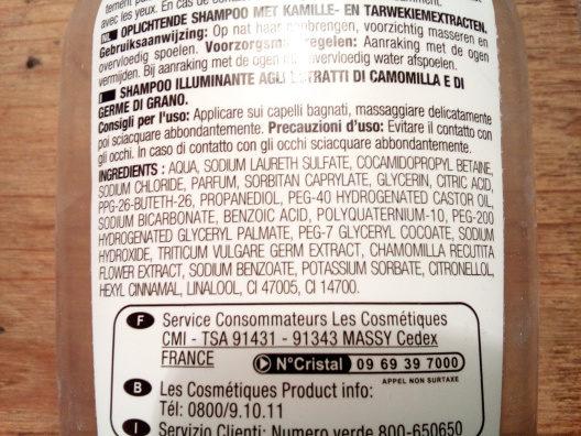 Shampooing illuminant à la camomille et au germe de blé - Ingredients