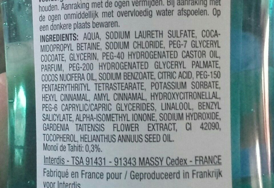 gel douche au monoï de Tahiti - Ingredients