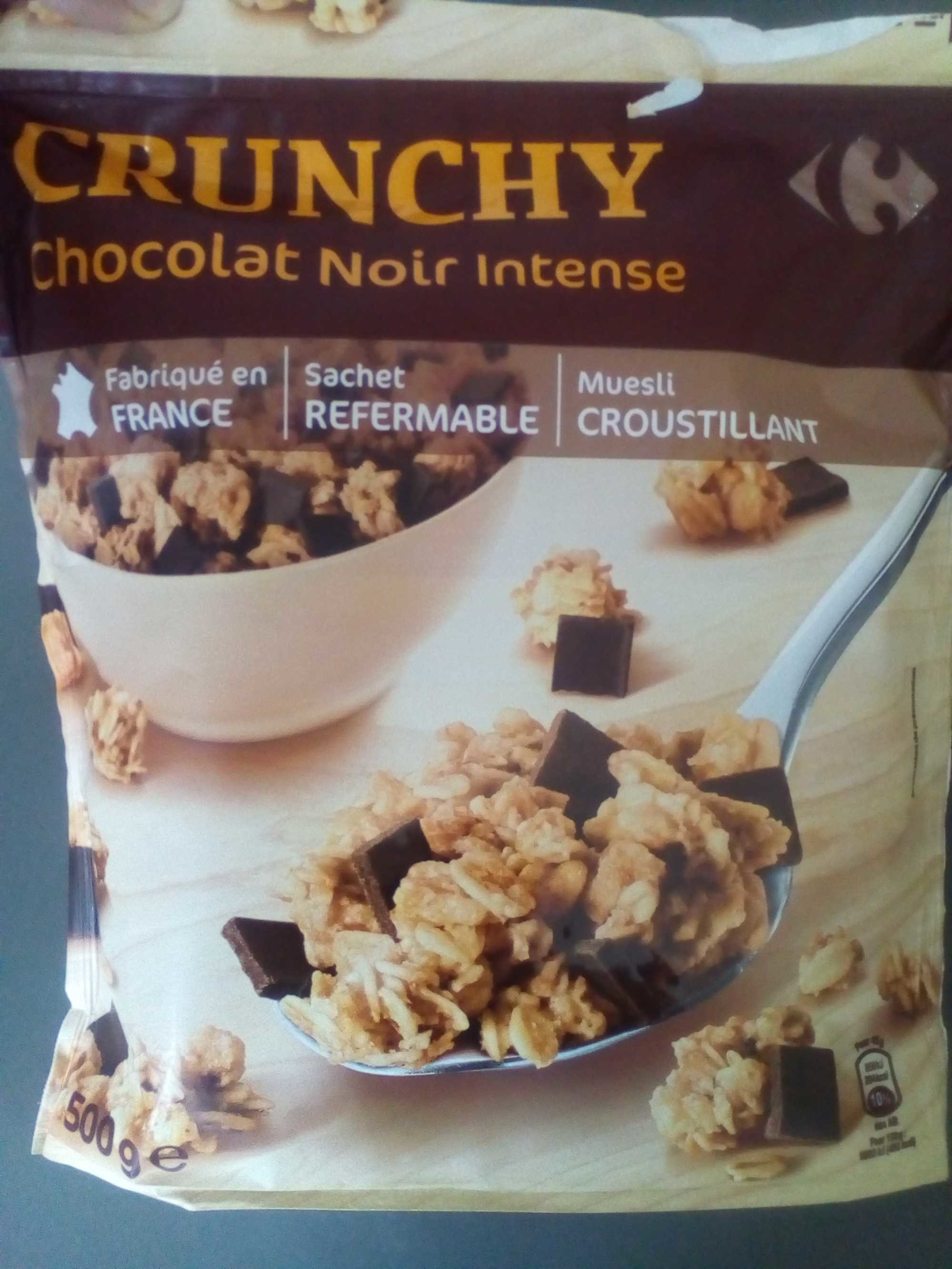 Crunchy Chocolat Noir Intense Carrefour 500g