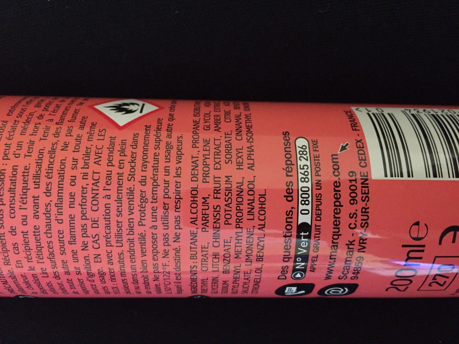 Déodorant Fraicheur grenade litchi, 200 Millilitres - Ingrédients