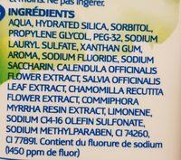 Dentifrice Fluor et Plantes - Ingredients - fr
