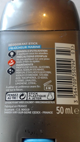Carré homme marine - Ingredients - en
