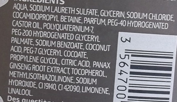 Shanpooing Douche Tonifiant - Ingredients