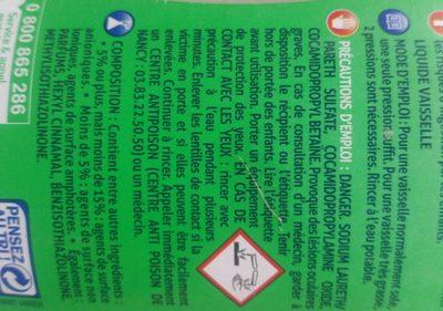 Liquide Vaisselle Pomme Kiwi, 750 Millilitres, Marque Visior - Ingrédients