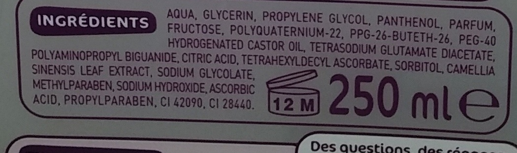 Lotion Tonique Fraîcheur - Ingredients - fr