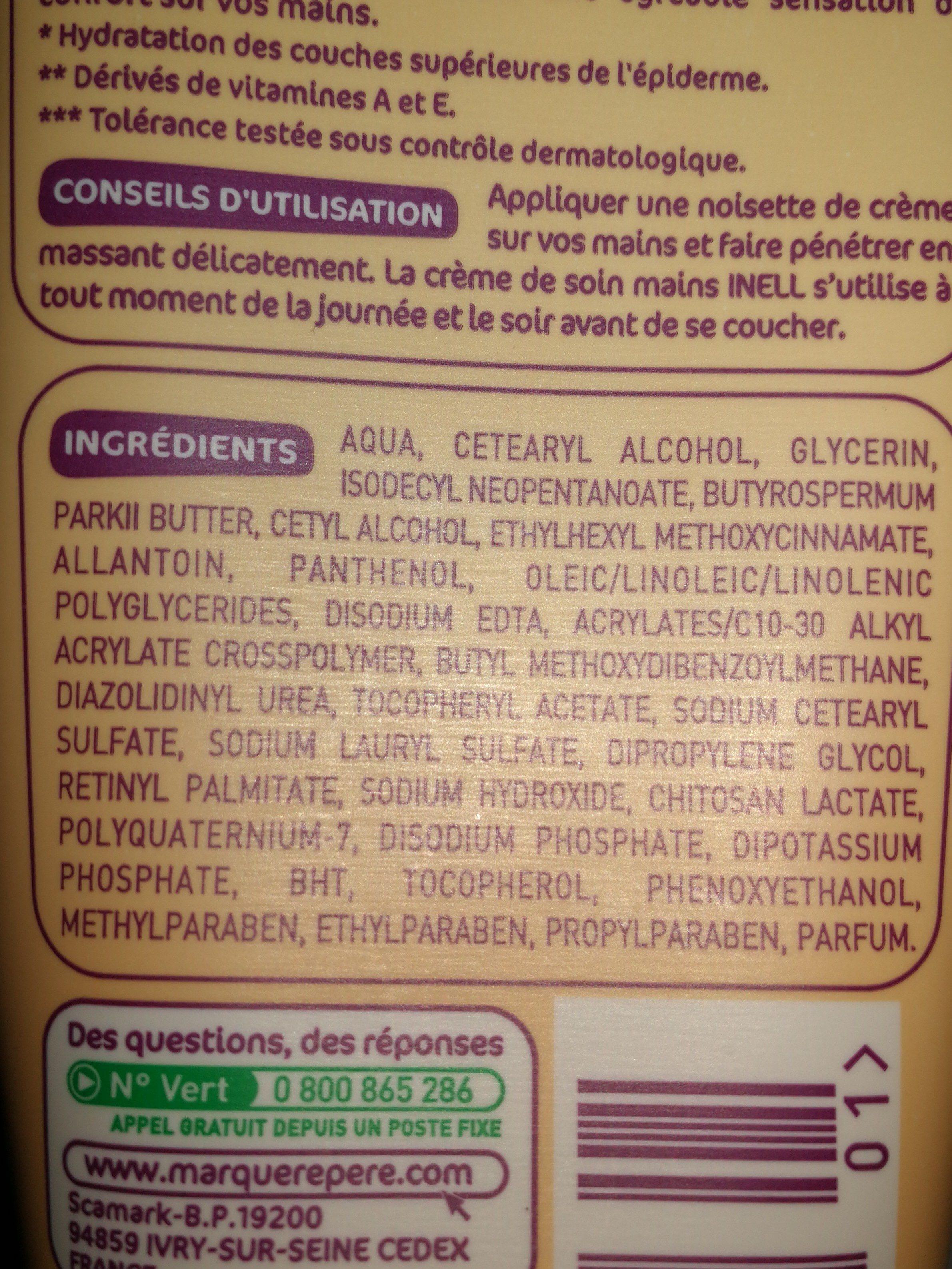 Crème de soin Mains peaux sèches - Ingrédients