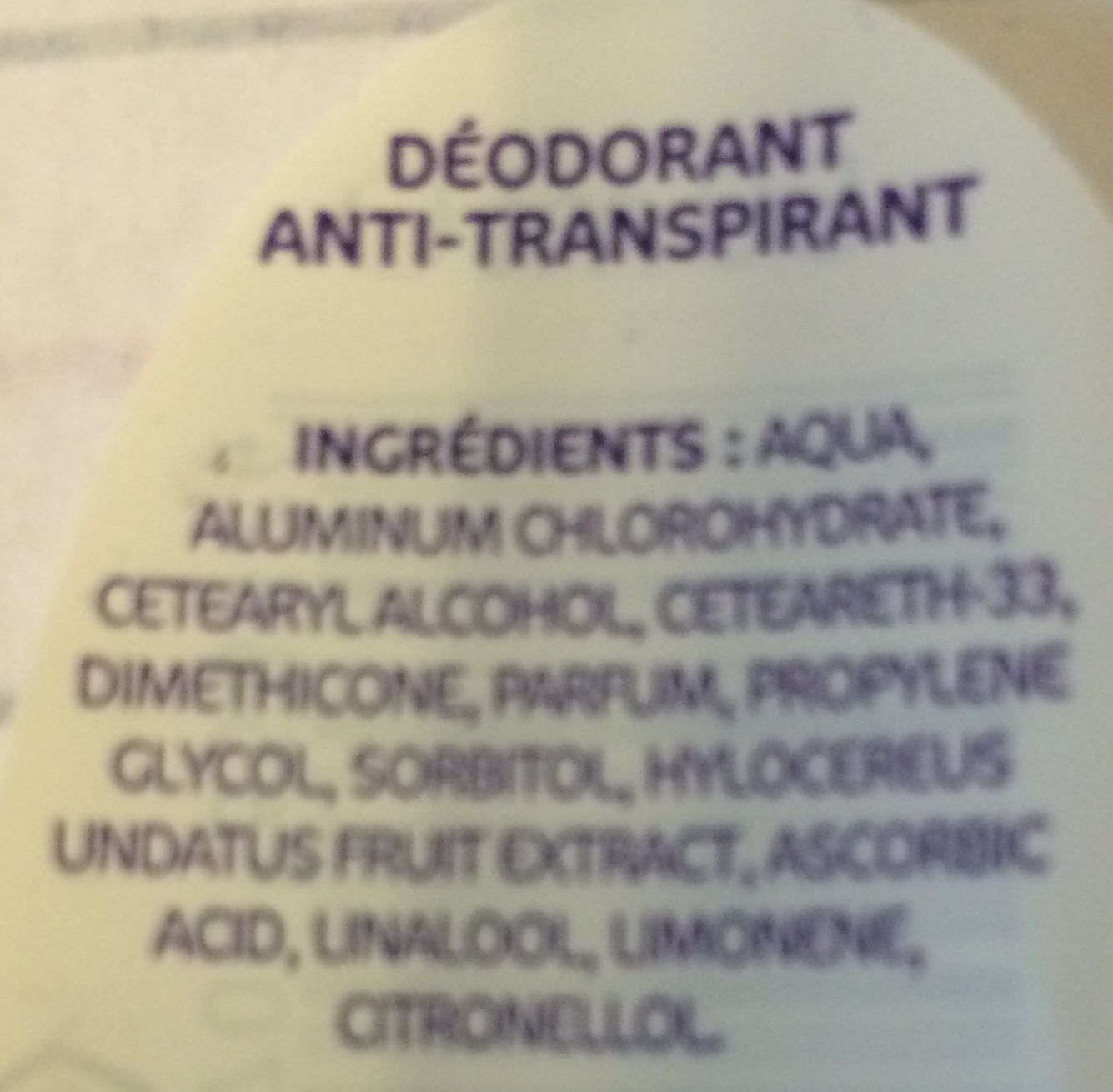 Fruit du dragon Anti-transpirant, anti-traces - Ingredients