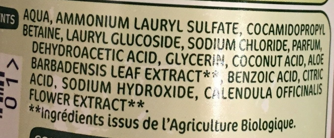 Gel lavant 2 en 1 Bio - Ingredients