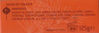 Cologne Ambrée Savon aux essences naturelles de bois de cèdre - Ingredients