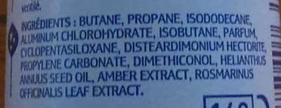 Invisible anti-transpirant anti-traces - Ingredients