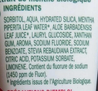 Dentifrice expert - Ingredients