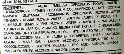 Bio Capilargil Shampooing cheveux colorés ou décolorés Argile et Extraits végétaux - Ingredients