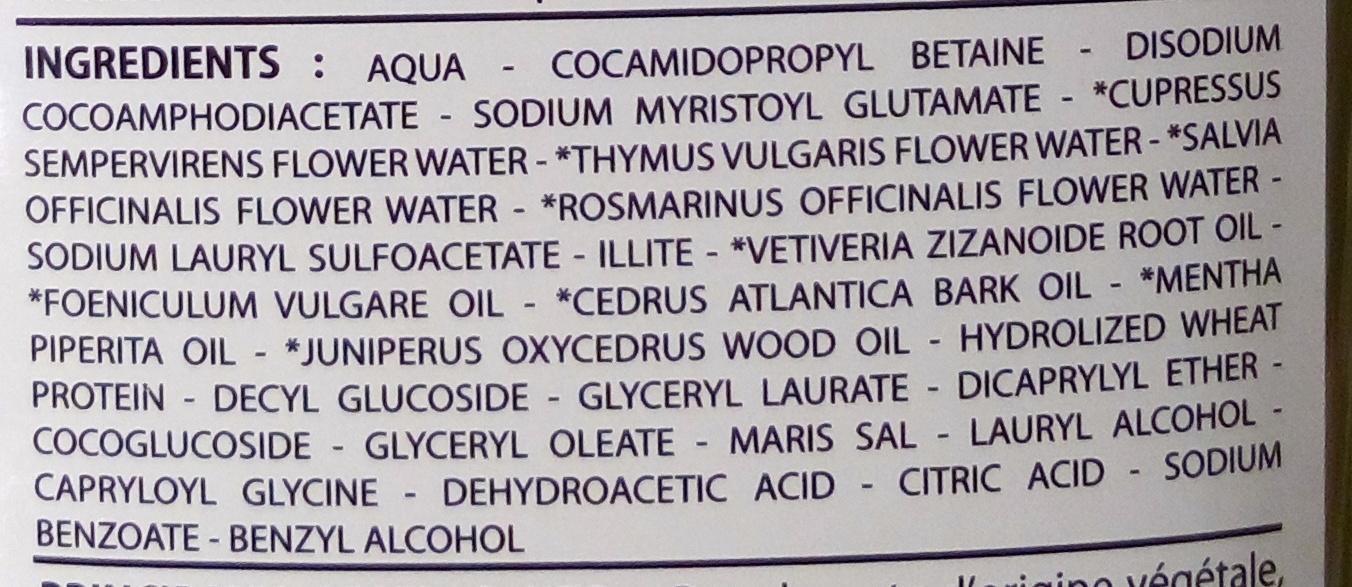Bio Capilargil Specific Shampooing Argile et Extraits végétaux Pellicules - Ingredients