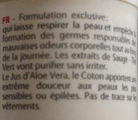 Déodorant à Bille Bio Aloe Vera & Thé Vert - - Dermaclay - Ingrédients