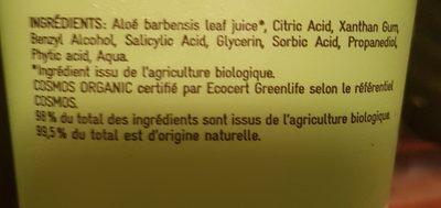 Gelée D'aloès Aloé Vera - Ingrédients