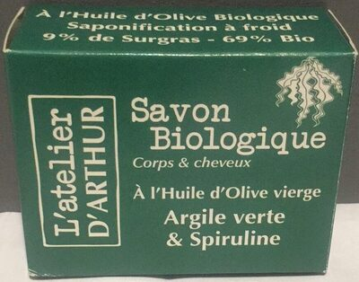 Savon Biologique à l'Huile d'Olive vierge Argile verte & Spiruline - Produit - fr