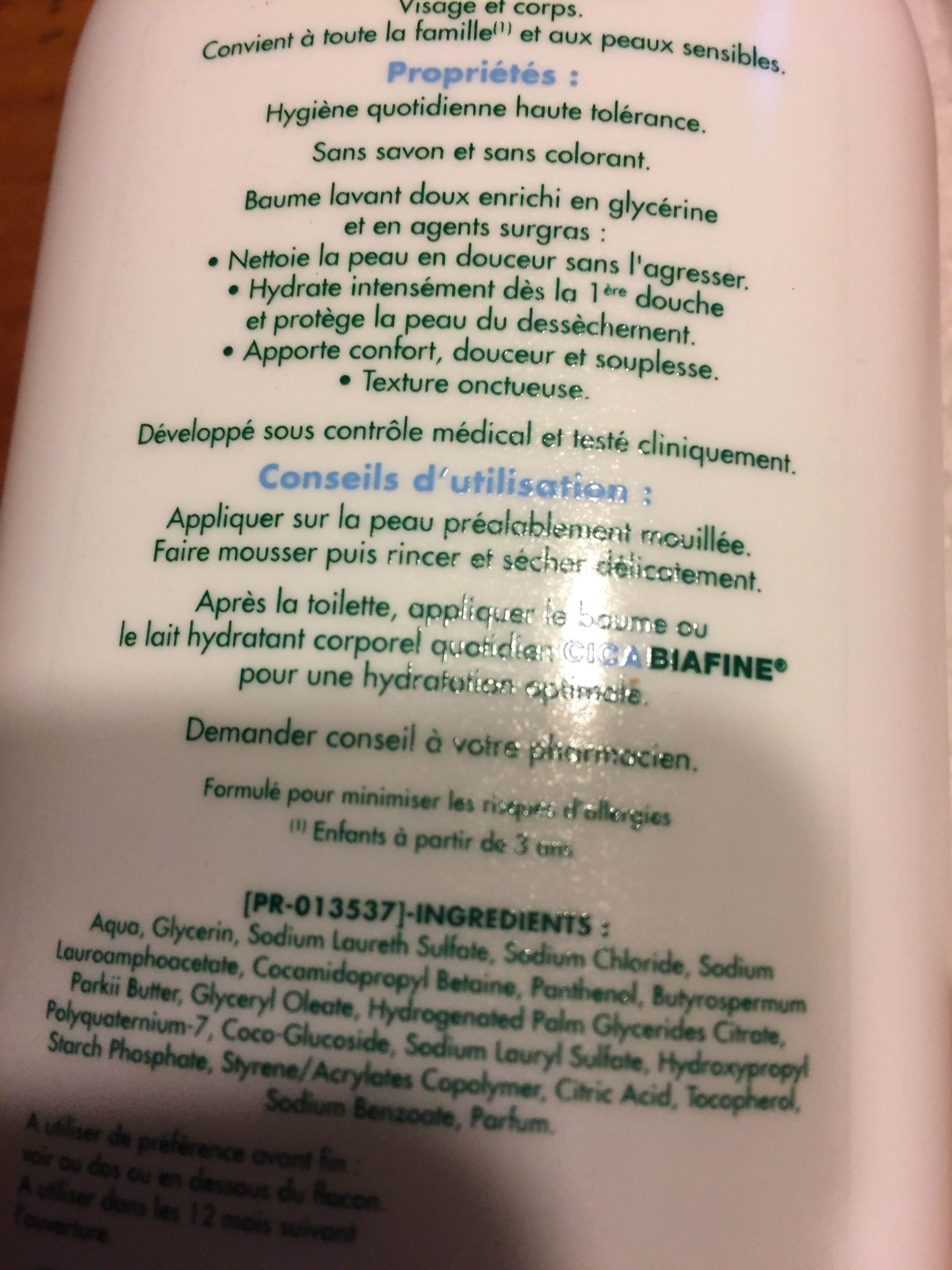Cicabiafine - Baume Douche Hydratant Surgras - Produit