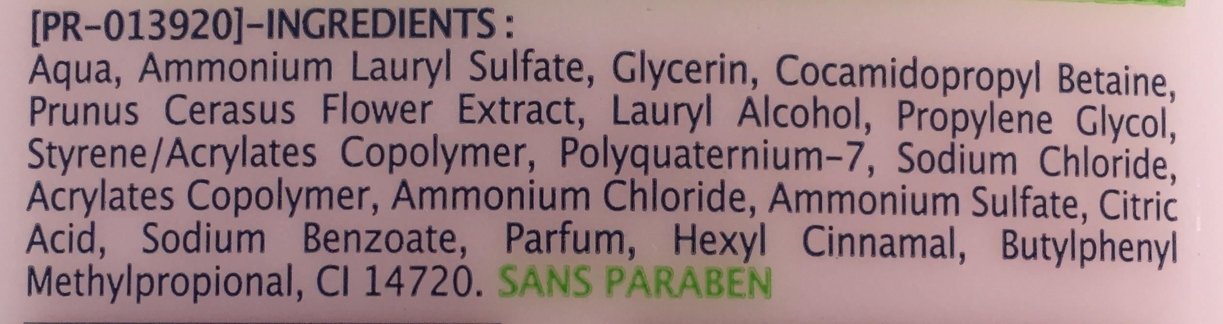 Gel douche Fleur de cerisier - Ingredients