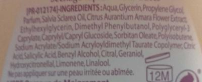 Déodorant Huile Essentielle de Sauge Fleur d'Oranger Fraîcheur - Ingredients