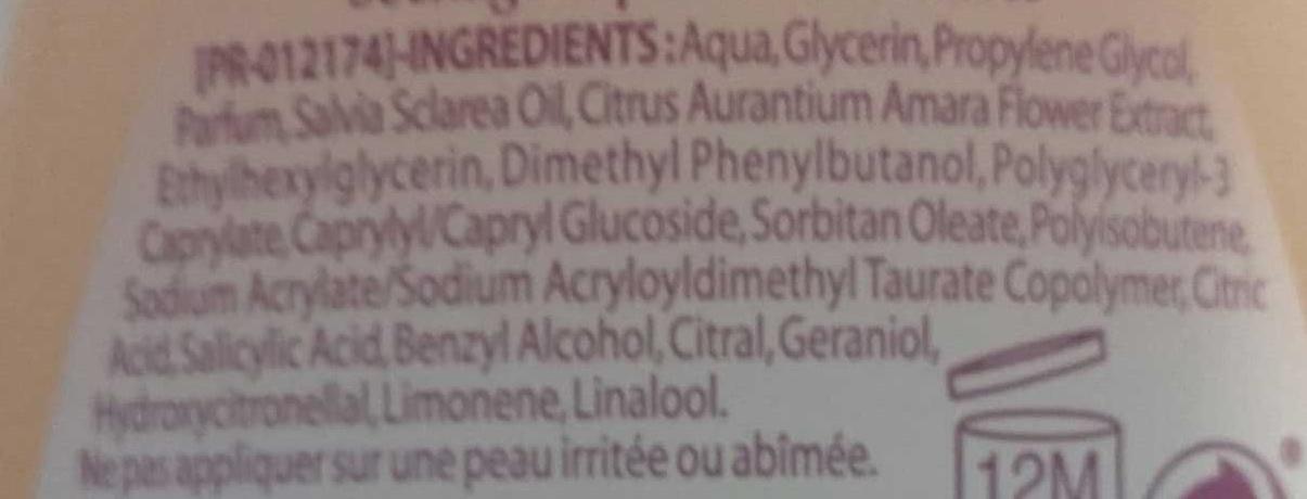 Déodorant Huile Essentielle de Sauge Fleur d'Oranger Fraîcheur - Ingrédients - fr