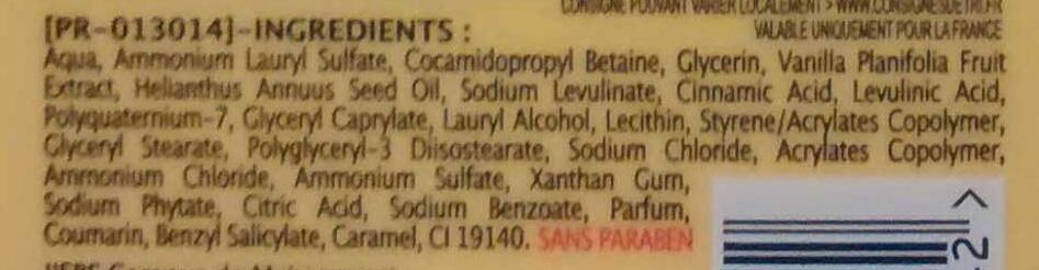 Douche crème extra doux Lait de Vanille - Ingredients