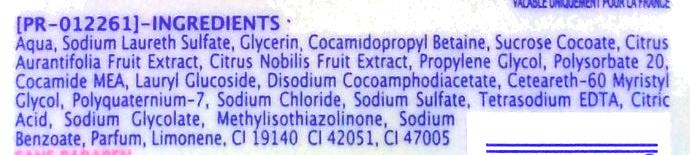 Gel douche extra doux Mandarine & citron vert - Ingredients