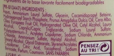 Douche Baume de soin Nutrition intense - Ingredients