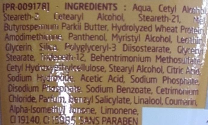 Le petit soin longueurs et pointes nutrition au Lait de karité et au miel - Ingrédients