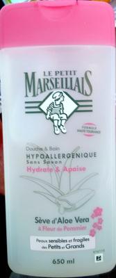 Douche et bain hypoallergénique sans savon Sève d'aloe vera & Fleur de pommier - Produit