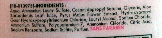 Douche et bain hypoallergénique sans savon Sève d'aloe vera & Fleur de pommier - Ingredients