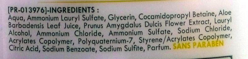 Douche et bain crème hypoallergénique sans savon - Seve d'aloe vera et fleur d'amandier - Ingrédients