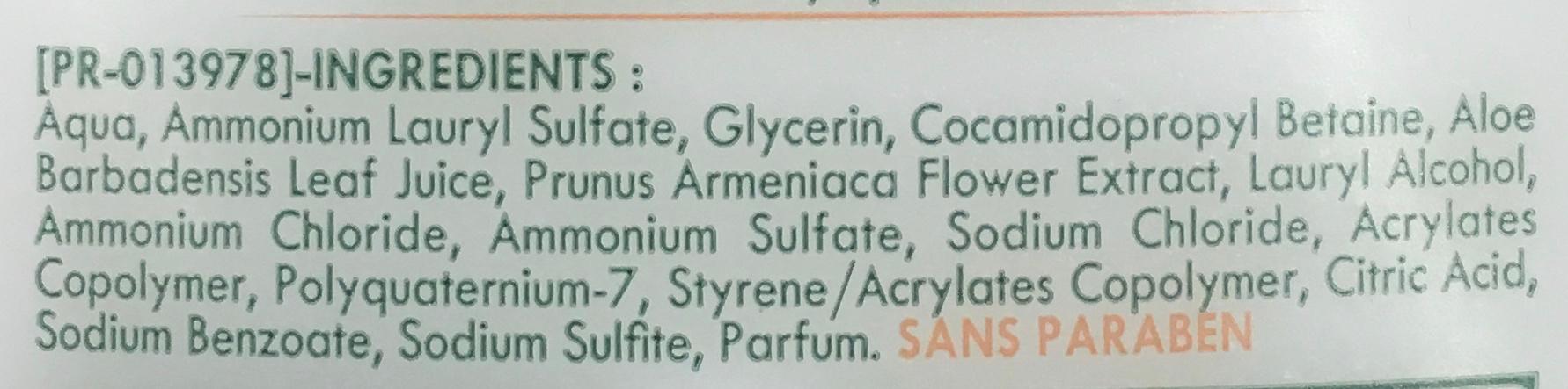 Douche & Bain crème hypoallergenique Sève d'Aloe Vera & Fleur d'Abricotier - Ingrédients - fr
