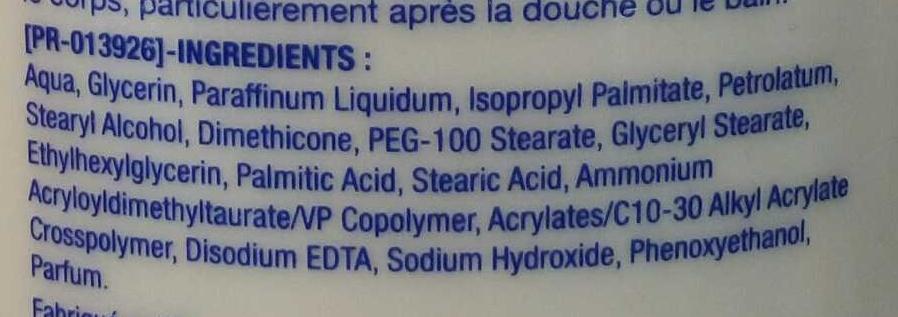 Deep Moitsure formule Norvégienne Lait Corps Hydratation Intense - Ingrédients