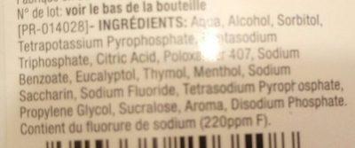 Bain de bouche Soin Blancheur - Ingrédients
