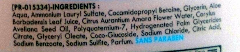 Douche gel surgras hypoallergénique à la sève d'aloe vera et à l'eau de fleur d'oranger - Ingredients - fr