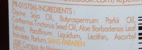 Huile nutritive réparation peaux abîmées, desséchées  beurre de karité aloes et huile de carthame - Ingredients - fr