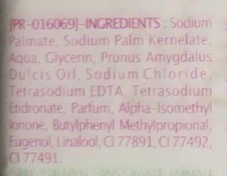 Savon surgras à l'huile d'amande douce - Ingrédients